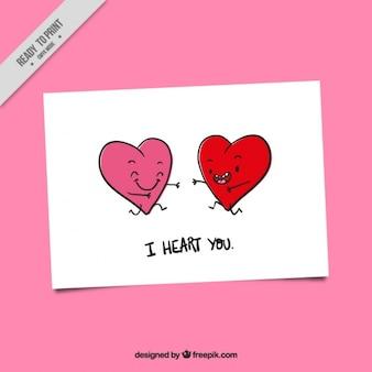 Valentijnsdag kaart met lachende harten