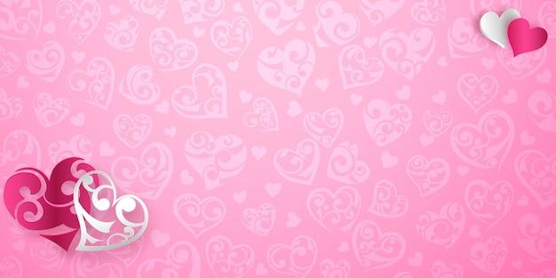 Valentijnsdag kaart met rode en witte hartjes met krullen en schaduwen op roze achtergrond