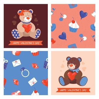 Valentijnsdag kaart met speelgoed beren. happy valentine's day wenskaart