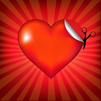 Valentijnsdag kaart met stralen, illustratie.