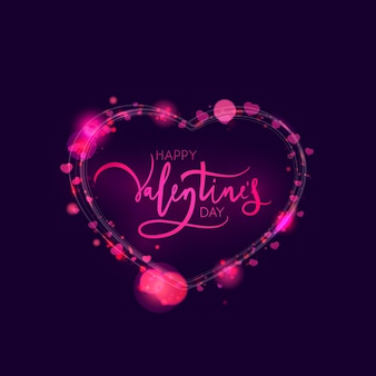Valentijnsdag kaart ontwerp met licht en glitter. illustratie