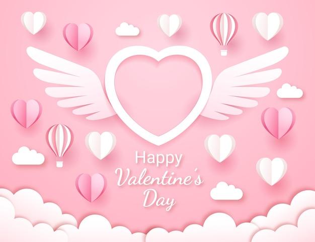 Valentijnsdag kaart papier gesneden stijl achtergrond.