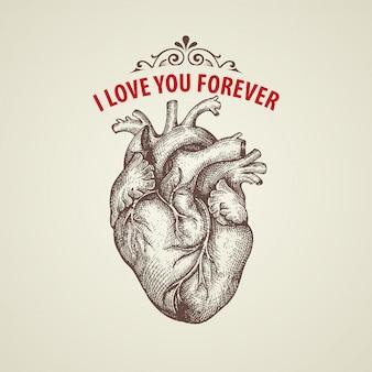 Valentijnsdag kaart. retro gravure hart