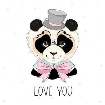 Valentijnsdag kaart. romantische panda met feestelijke elementen. hand belettering.