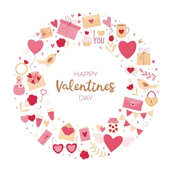 Valentijnsdag kaart. ronde compositie van verschillende elementen op een witte achtergrond en een inscriptie.