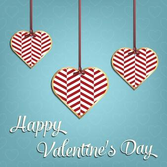 Valentijnsdag kaart voor vakantie sjabloon met geometrische harten illustratie. creatief en luxe stijlpatroon
