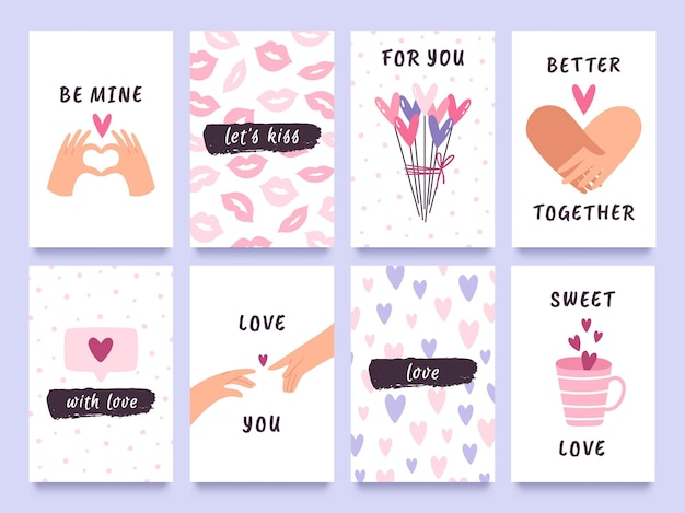 Valentijnsdag kaarten en prenten met handen van paar, harten en kussen. leuke liefdescadeaulabels met citaten. gelukkig valentijn vector ontwerpset. wenskaarten voor romantische evenementen
