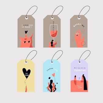 Valentijnsdag kaarten instellen vector