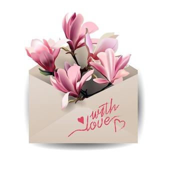 Valentijnsdag kaartkleurrijke lente bloemen magnolia in de envelop concept lente achtergrond