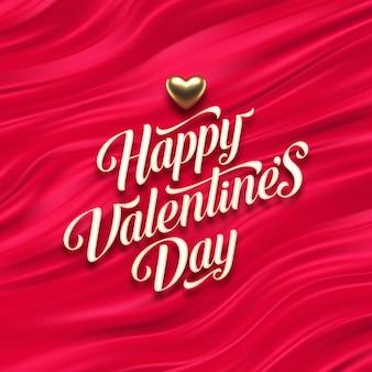 Valentijnsdag kalligrafische groet en gouden hart op rode vloeiende golven achtergrond.
