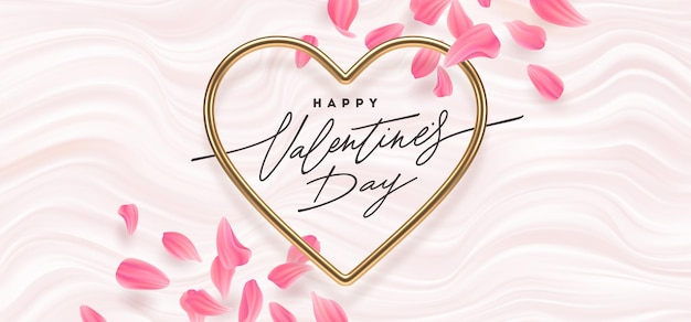 Valentijnsdag. kalligrafische groet, realistische gouden metalen harten en bloemblaadjes op een roze vloeiende golvenachtergrond.