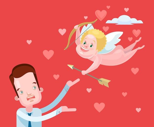 Valentijnsdag karakter. cupido en man.