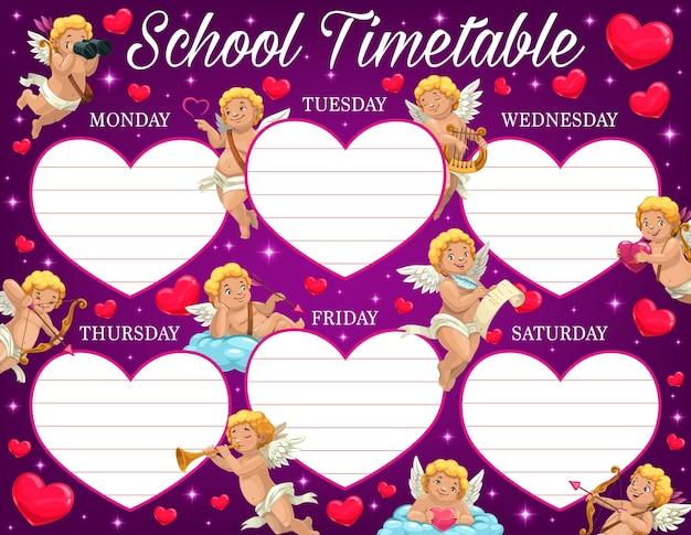 Valentijnsdag kind schoolrooster met amours karakters