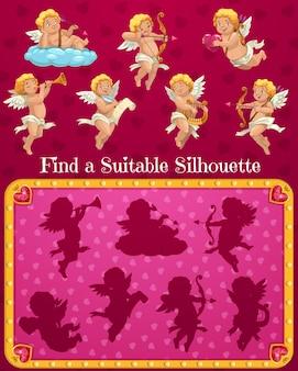 Valentijnsdag kind vindt een geschikt silhouetspel met stripfiguren van cupido