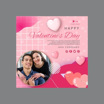Valentijnsdag kwadraat flyer-sjabloon