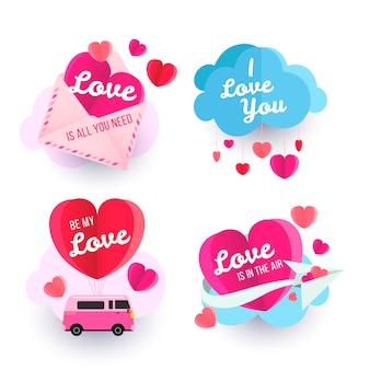 Valentijnsdag label collectie met harten