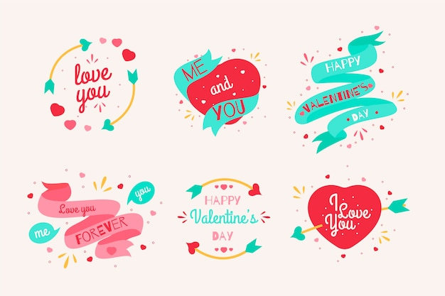Valentijnsdag labelcollectie in plat ontwerp