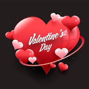 Valentijnsdag lettertype met glanzende harten versierd op zwarte achtergrond.