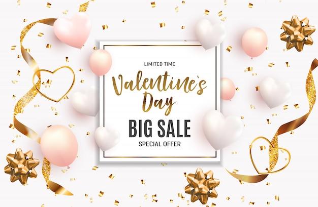 Valentijnsdag liefde en gevoelens verkoop achtergrondontwerp.