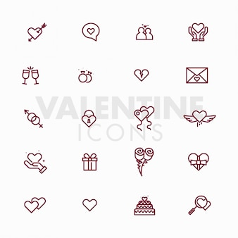 Valentijnsdag liefde iconen