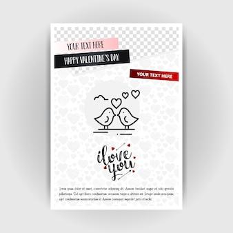 Valentijnsdag liefde poster sjabloon. plaats voor afbeeldingen en tekst, vectorillustratie