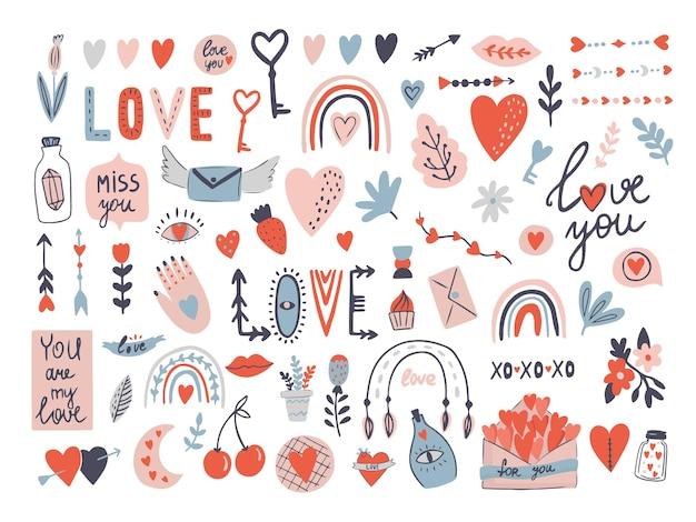 Valentijnsdag liefde set met letters met envelop, hart met pijl vector clipart.