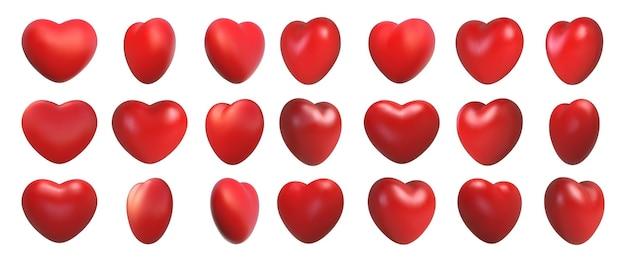 Valentijnsdag liefde symbool, 3d harten rotatie. realistische romantische emoji, rood hartpictogram voor en draaihoekweergave. bruiloft decor vector set