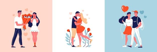 Valentijnsdag liefde vierkante composities van jong liefdevol paar met bloemen hart