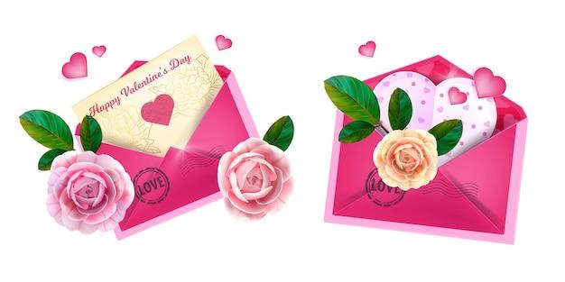 Valentijnsdag liefdesbrief enveloppen met hartvormige ansichtkaarten, rozen, groene bladeren.