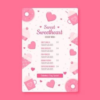 Valentijnsdag lieverd restaurant menu