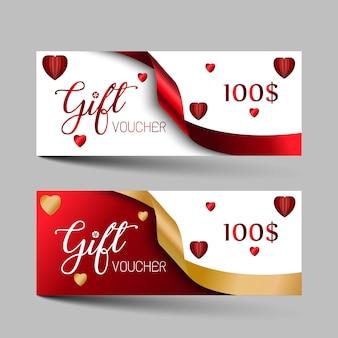 Valentijnsdag luxe cadeaubonnen instellen.