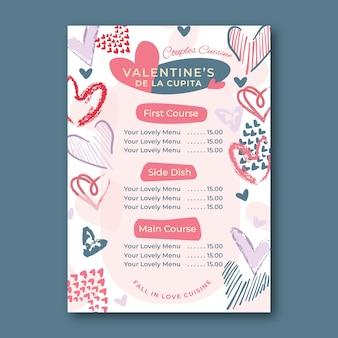 Valentijnsdag menu sjabloon hand getrokken stijl