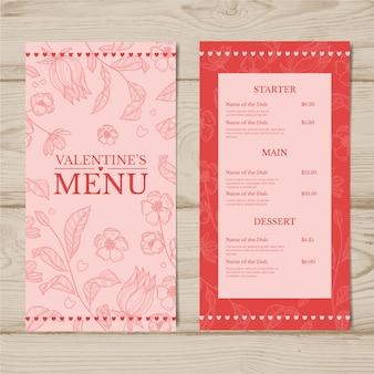 Valentijnsdag menu sjabloon tekening