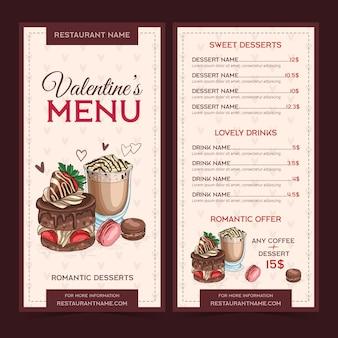 Valentijnsdag menusjabloon handgetekende