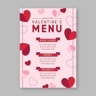 Valentijnsdag menusjabloon in platte ontwerp