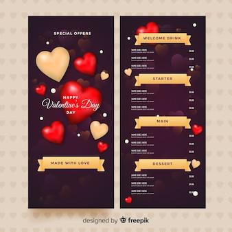 Valentijnsdag menusjabloon in realistische stijl