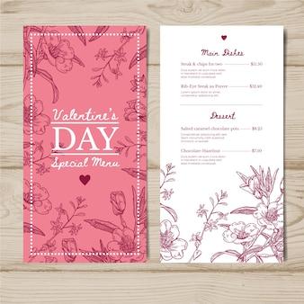 Valentijnsdag menusjabloon tekenen