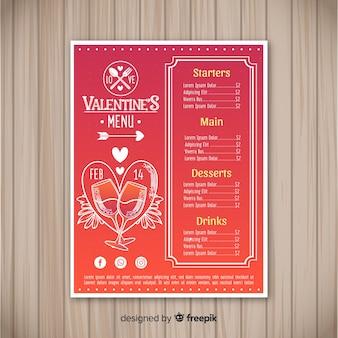 Valentijnsdag menusjabloon