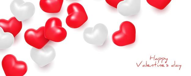 Valentijnsdag met 3d-realistische liefdeharten minimale banner