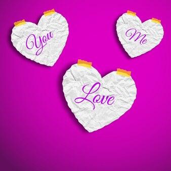 Valentijnsdag met gekreukt papier witte harten met woorden geïsoleerde vectorillustratie