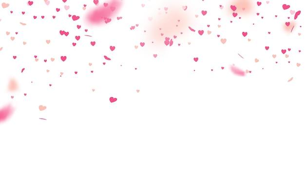 Valentijnsdag met hart confetti vallen.