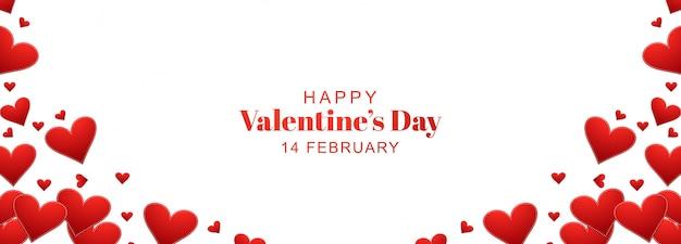 Valentijnsdag met harten banner ontwerp
