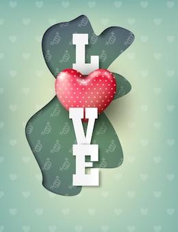 Valentijnsdag met liefde tekst papier knippen stijl.