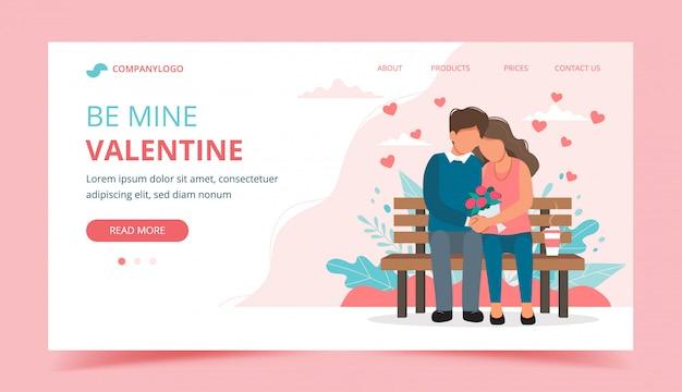 Valentijnsdag met paar zittend op de bank.
