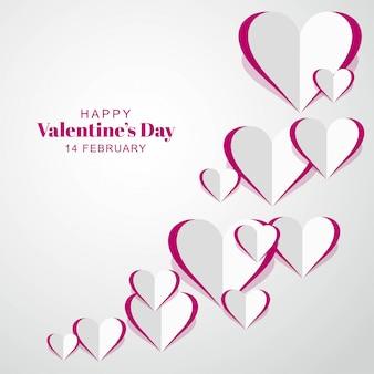 Valentijnsdag met papieren harten kaart