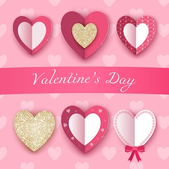 Valentijnsdag met realistische harten wordt geplaatst dat