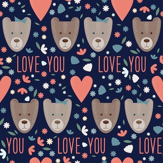 Valentijnsdag naadloze patroon met grappige cartoon beren en harten