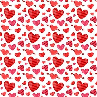 Valentijnsdag naadloze patroon met hartjes.