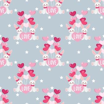 Valentijnsdag naadloze patroon met schattige konijnen paar.