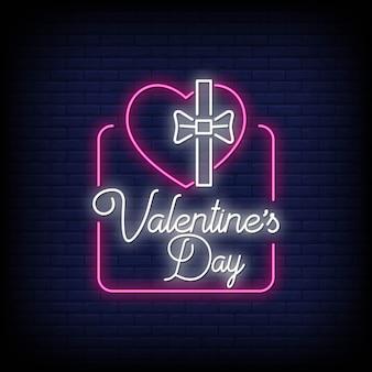 Valentijnsdag, neon teken stijl effect tekst